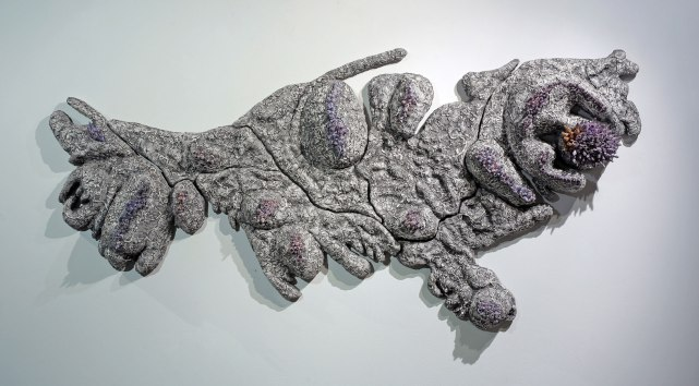 """56"""" w. x 29"""" h. x 5"""" d., Ceramic with lusters"""