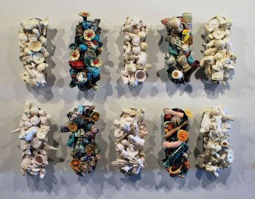 """Recycle, L 40"""" x H 24"""" x D 5"""", Slip Cast and Hand Built Earthenware, 2012-Present"""