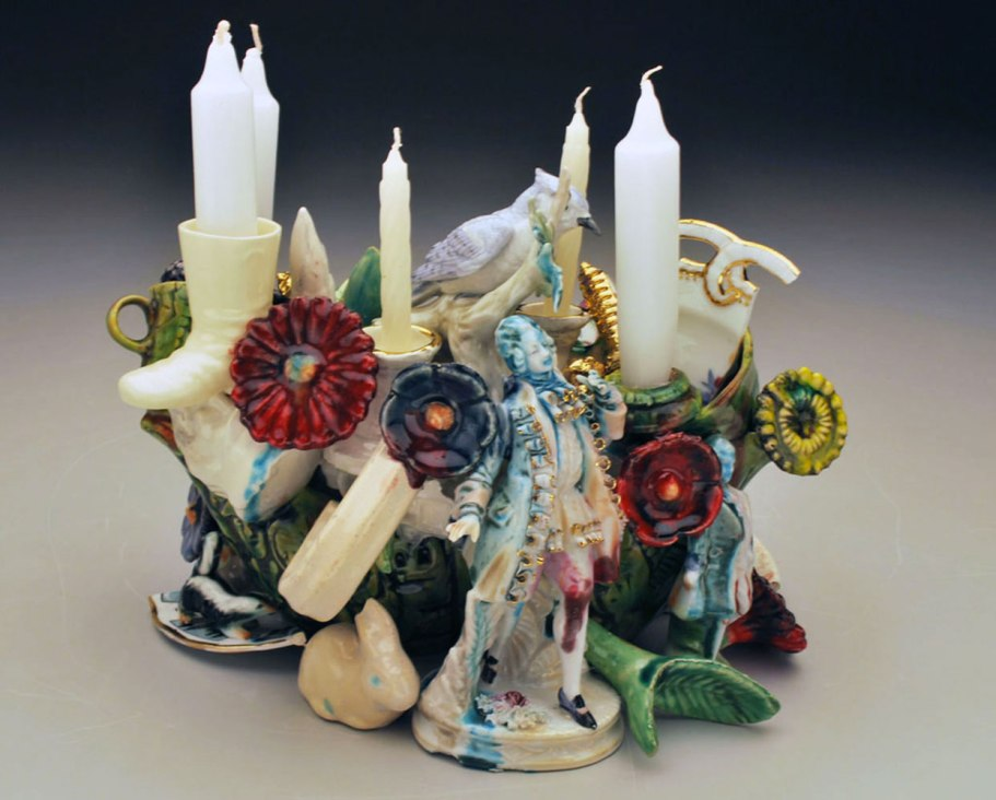 """Taper, L 6"""" x H 12"""" x W 6"""", Found Objects, Slip Cast and Hand Built Earthenware, 2013"""