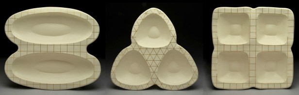 """hand-built porcelain, gold luster, cone 6, 21 x 21 x 4,"""" 2013"""
