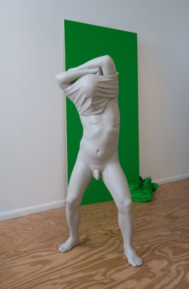 """installation at Plug Projects (Kansas City, MO), painted ceramic and mixed media, standing male: 50"""" tall"""