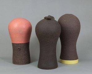 """Stoneware, Slip, Glaze, 14"""" x 7"""" x 7"""" (each), 2015/2016"""