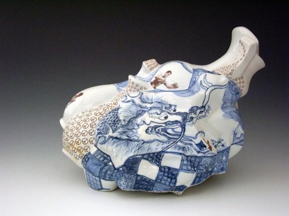 Hand painted cobalt underglaze (Qing Hua), terra sigillata