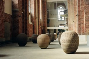 view of the exhibition, St. Peter's Church, Riga, Latvia. Earthenware (96-115, Ø 81-94cm)