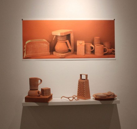 """HDR Color Photograph, Life-sized Terracotta Objects, Latex Paint, and Wood. 36""""x18"""" 2016"""