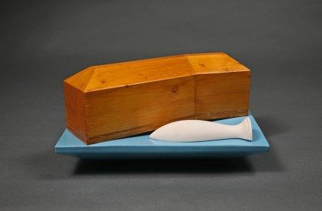 """wood, clay, glaze, 8"""" x 6"""" x 8"""""""