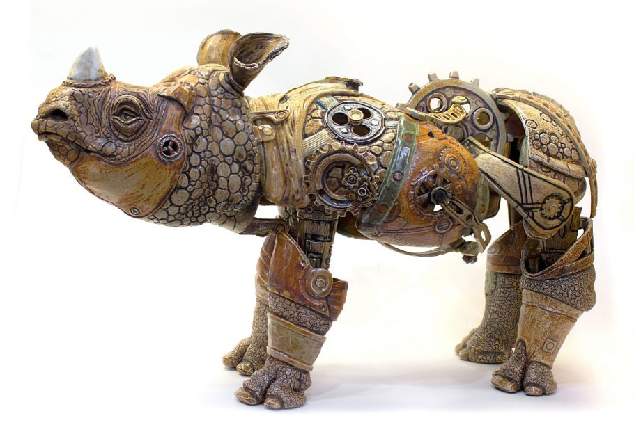 This piece was fired in numerous parts and assembled post-firing on a steel armature with epoxy and wire.