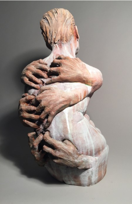 On My Back (back view) represents the pressures or responsibilities of life clawing on ones back as a burden. The figure has no arms representing how there is no control or power to stop the clutch. Here the back view shows the whole expression of the piece.