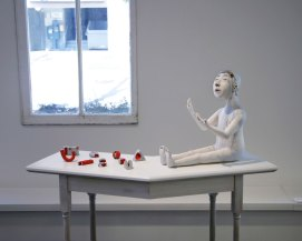 "18"" x 37"" x 14"" (with table), white earthenware, terrasigillata, underglaze, glaze, gold luster, wood, 2015"