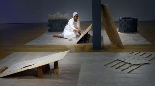 Four-hour long performance in which the artist uses water to paint the same mark repeatedly on bone-dry slabs. The piece explores the meaning of home, belonging and creating space.