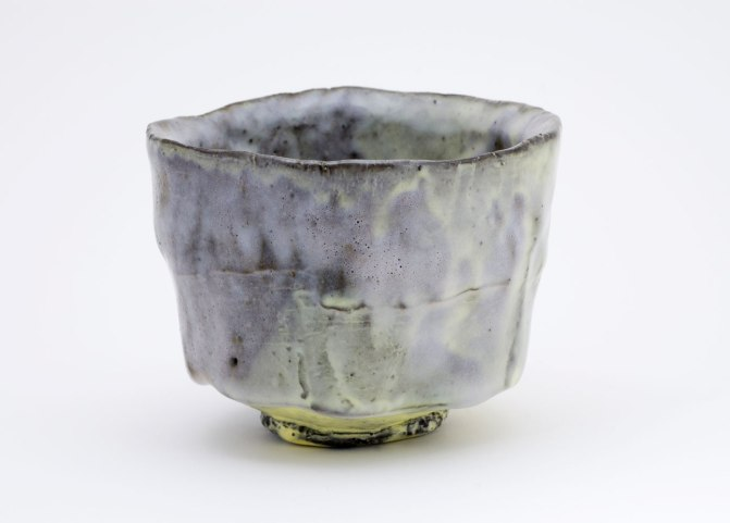 "Pinched Black Stoneware Yellow Slip, 3¾""x4""x4"", 2013 and Opaque Glaze, cone 6"