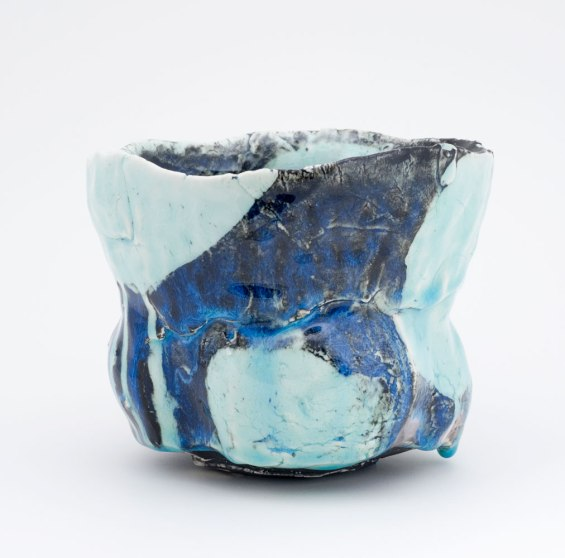 """Pinched Porcelain and Polychrome Glazes, cone 8, 4½""""x5½""""x5"""", 2013"""