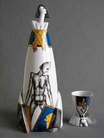 1993, Porcelain, Gas reduction firing at Cone 14, Overglaze painting