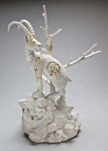 23x14x10 inches, Glazed porcelain, taxidermy canary, cast plastic, mixed media