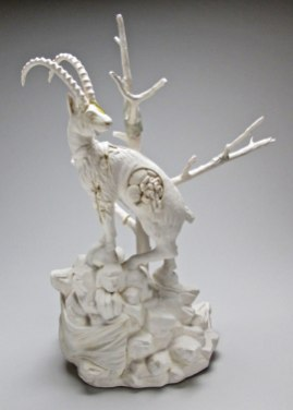 23x14x10 inches, Glazed porcelain, taxidermy canary, cast plastic, mixed media