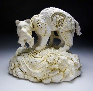 23x14x11 inches, Glazed porcelain, taxidermy canary, cast plastic, mixed media
