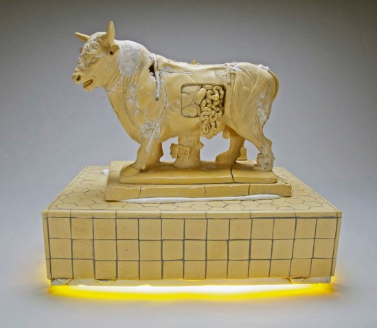 17x19x13 inches, Polished yellow porcelain, electric light, mixed media