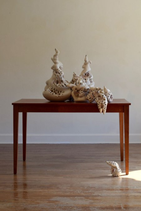 """H 30"""" x W 45"""" x D 60"""", porcelain, luster, found table, 2016"""
