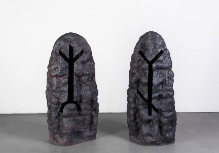 "2016. Stoneware, black iron oxide. Dimensions variable, each ceramic piece approx. 12""L x 18""W x 44""H"