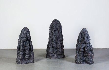 "2016. Stoneware, black iron oxide. Dimensions variable, each ceramic piece approx. 12""L x 21""W x 36""H."