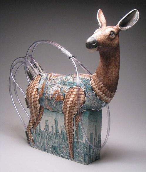 "porcelain, underglaze, resin and plastic tubing, 19"" x 24"" x 10"", 2009"
