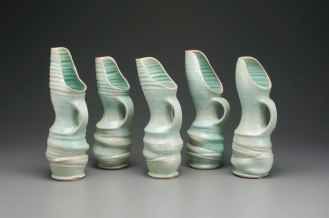 "2015, 15"" x 6"" x 5"" (h x w x d), Porcelain clay, Wheel thrown, altered and assembled clay that has been glazed and fired in oxidation to cone 6 in an electric kiln."