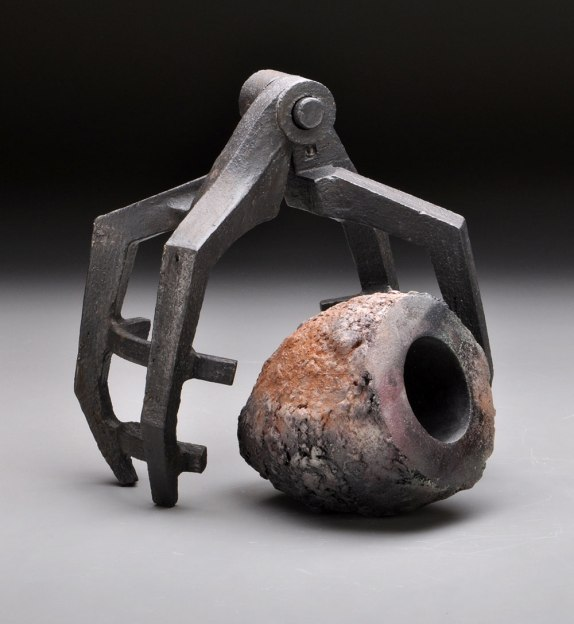 "Artifact Series, ""Caged"", H 12"" x W 8"" x D 7"", 2014, Sagger & Stoneware Fired"