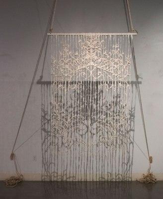Unfired Porcelain, Wood, String, Fiber, 6 ft. x 3 ft. x 2 in., 2015