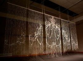 Unfired Porcelain, Wood, String, Fiber, 7 ft. x 16 ft. x 2 in., 2016