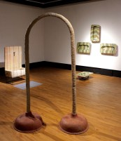 Exhibition Installation Shot, 4/17, Dimensions variable, Ceramic (Ablution Altar), Ceramic (Confessions – Squatting urinals), Concrete (The Weight of Lies – Plunger arch)