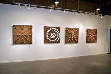 Osteoblasts and Osteoclasts, (Tampa Ba,y FL NCECA 2011), Cone 04 Oxidation, slips, glaze, magnets, steel, rust, 4 panels: 4'x4'x.5'