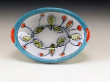 """Small Oval in Persian Colors, Terracotta, 6"""" x 4.25""""w x 2.5""""H, 2011"""