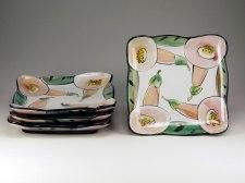 "Dessert Plates: Pink Flowers, Terracotta, 7.5"" sq x 1.25""H, 2014"