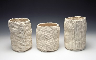 """6""""hx 4""""w, 4""""d, 2017, hand knit cotton, dipped in porcelain slip, fired cone 6 oxidation, unglazed."""
