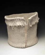 """9""""h x 10""""w x 10""""d, 2017, hand knit cotton, dipped in porcelain slip, fired cone 6 oxidation, unglazed."""