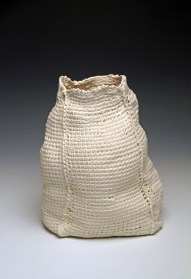 """8""""h x 5""""w x 4.5""""d, 2017, hand crocheted cotton, dipped in porcelain slip, fired cone 6 oxidation, unglazed."""