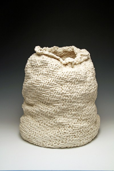 """18""""h x 15""""w x 14""""d, 2017, hand knit cotton, dipped in porcelain slip, fired cone 6 oxidation, unglazed."""