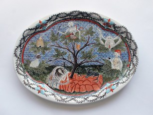 Tin-glazed earthenware, 18 inches across, 2016