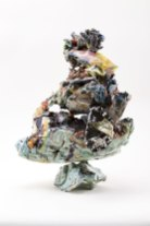 Porcelain, stoneware, underglaze, glaze, & adhesive, 16 x 8 x 5 inches, 2016
