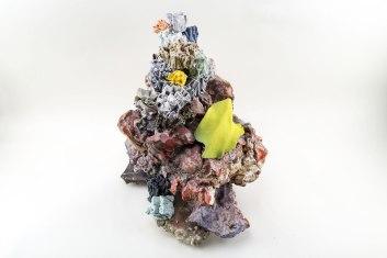 Glazed stoneware, earthenware, underglaze, porcelain, adhesive, and flock, 17 x 13 x 8 inches, 2015