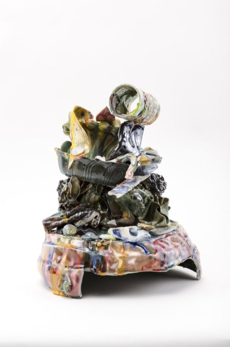 Porcelain, basalt clay, glaze, underglaze, multiple firings, 3D printed porcelain, & flock, 10 x 8 x 5 inches, 2016