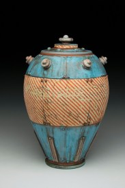 "14""H x 8""x 8""L. Earthenware, wheelthrown. Terra sigillita, underglaze. Electric fired cone 04"