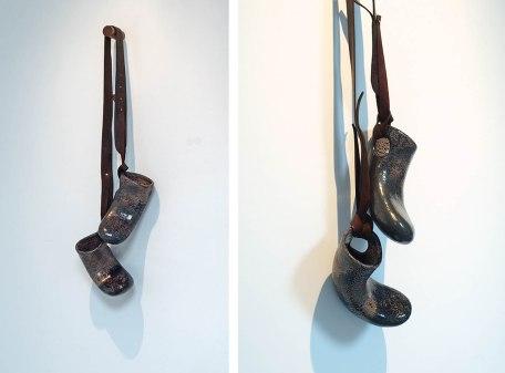 chamotte mass, glaze, leather, wood, 30 x 80 cm