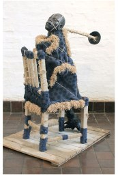 Ceramic, Wood, blanket and thread, Chair: 50cm x 47cm x 127 cm, Rod; 100cm, 2014