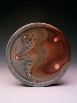 "wheel thrown, wood fired, natural ash glaze, 10"" diameter"
