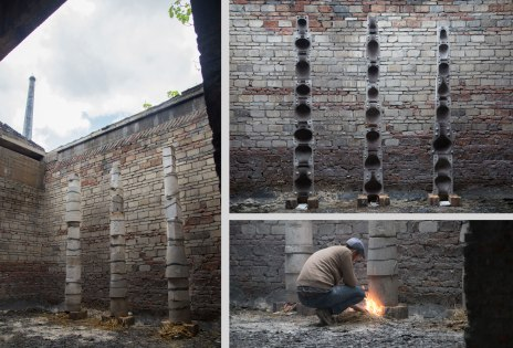 Relic Plaster Slipcasting Molds, Combustible Material, Site Specific Installation