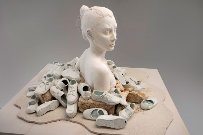 "2013, Glazed porcelain, glazed and painted earthenware, concrete, sand, wood, 56"" h x 46"" w x 38"" d. Photo credit – Allen Cheuvront"