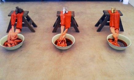 2015, mixed media : ceramic, wooden stools, fabric, tin enamel, water, food colorant, sculpting, variable dimension