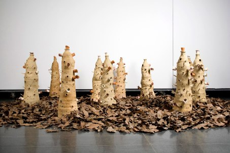 2009, ceramic, dried leaves, sculpting – handbuilding, variable dimension