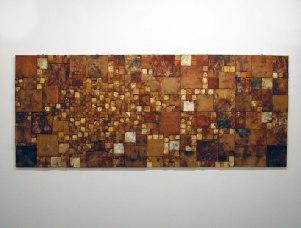 Earthenware, ready white tiles, pit firing with ferro choloride, 250cm & 100cm, 2004